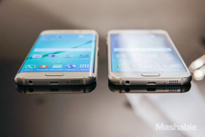 Side by side comparison of the Galaxy S6 and S6 edge.  Source: Mashable.com